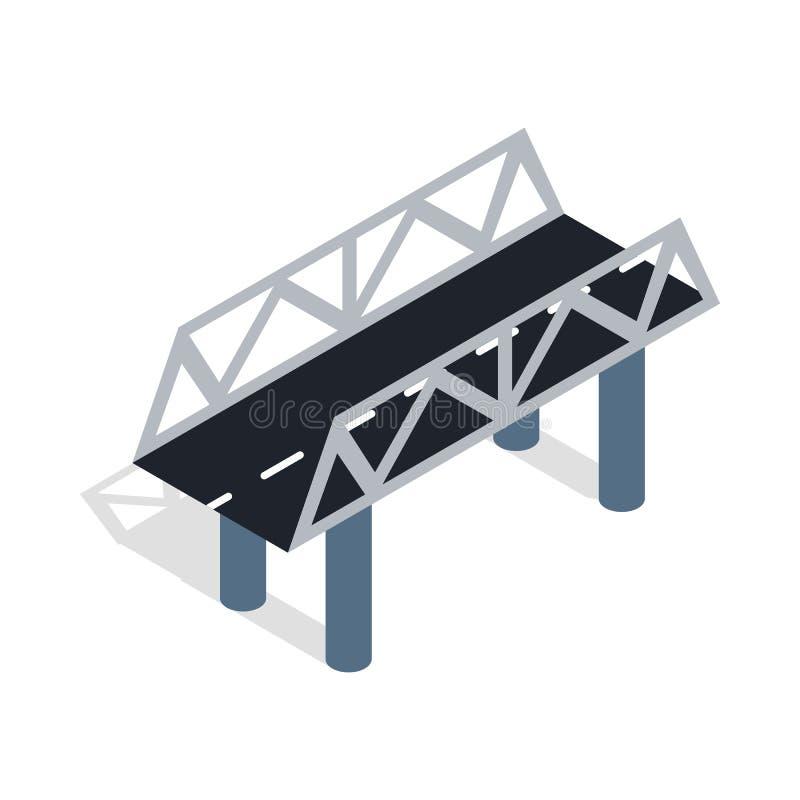 Road bridge icon, isometric 3d style stock illustration