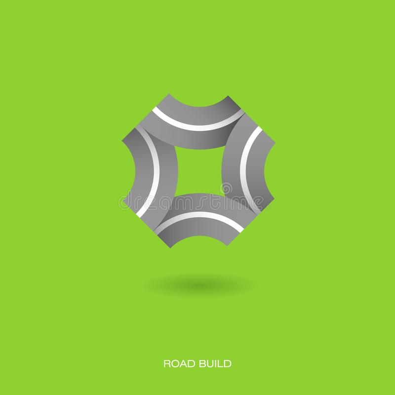 Road Build icon. Construction of roads emblem. Logo in the form of roads in all directions. vector illustration