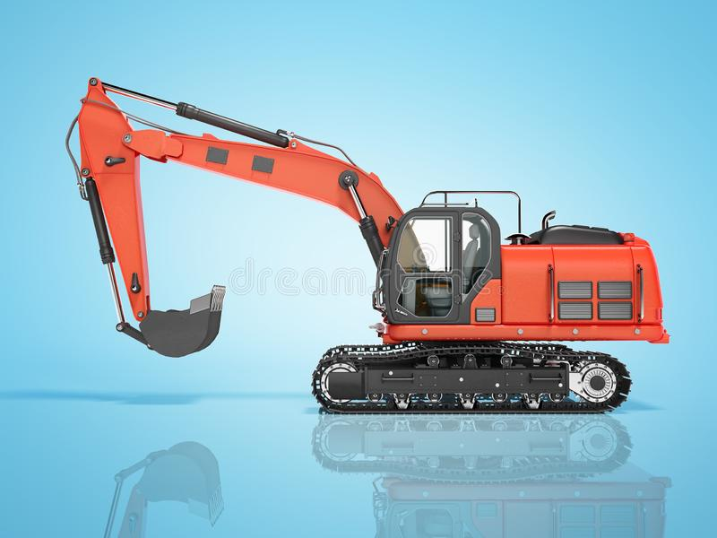 Road building red excavator on metal caterpillar track left side view 3d render on blue background with shadow. Road building red excavator on metal caterpillar stock illustration