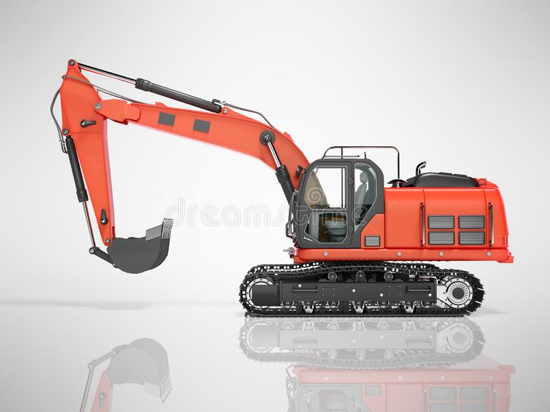 Road building red excavator on metal caterpillar track left side view 3d render on gray background with shadow. Road building red excavator on metal caterpillar royalty free illustration
