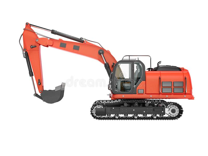 Road building red excavator on metal caterpillar track left side view 3d render on white background no shadow. Road building red excavator on metal caterpillar stock illustration