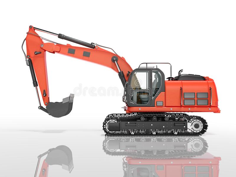 Road building red excavator on metal caterpillar track left side view 3d render on white background with shadow. Road building red excavator on metal caterpillar vector illustration