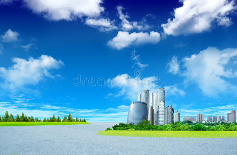 Road and building towers stock photography