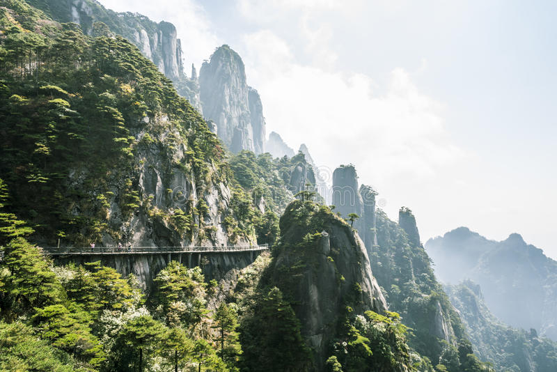 A road built along the face of a cliff stock photo