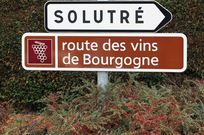 Road of Burgundy wine sign. France stock photos