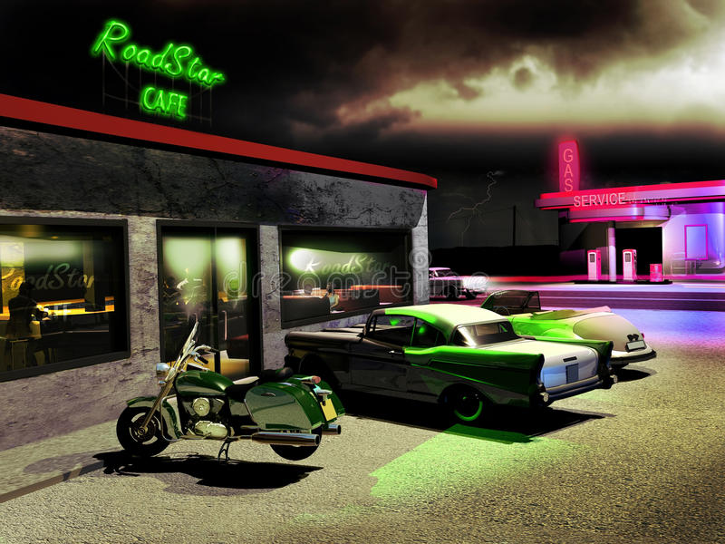 Road cafe stock illustration