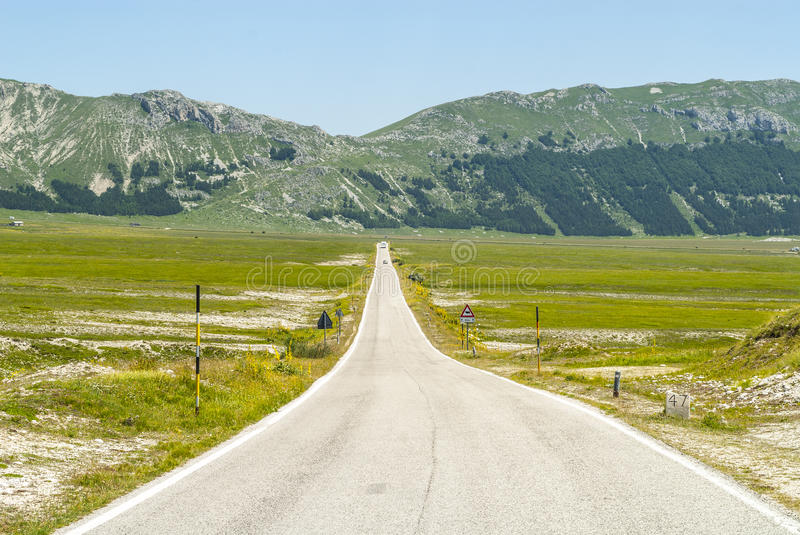 The road of Campo Imperatore stock photo