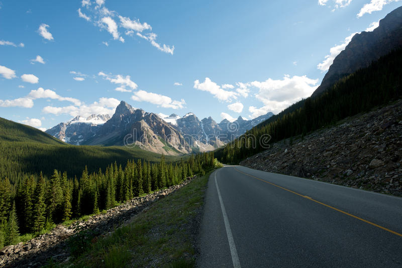 Road through the Canadian Rockies in Lake Louise, Alberta, Canad royalty free stock images