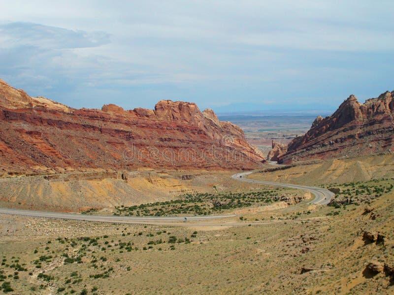 Road through canyon stock image