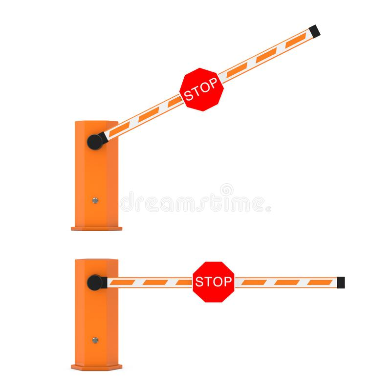 Road Car Barrier with Stop Sign. 3d Rendering vector illustration