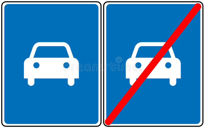 Road For Car Signvector Blue Symbol Only Car Allowed Road Sign