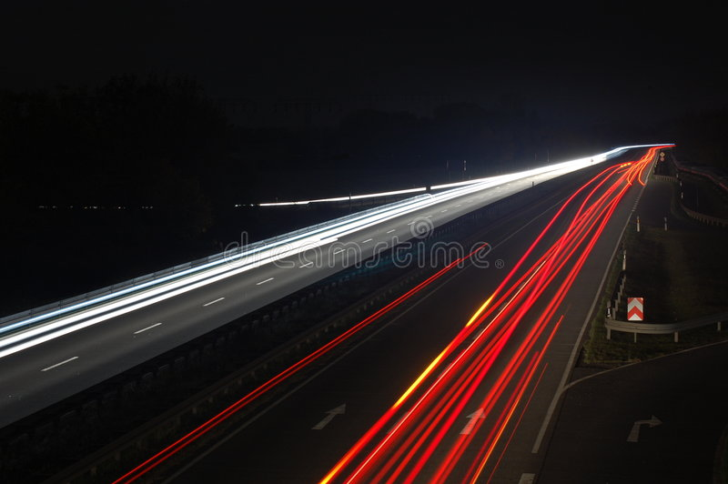Download Road With Car Traffic At Night With Blurry Lights Stock Image - Image: 6936785