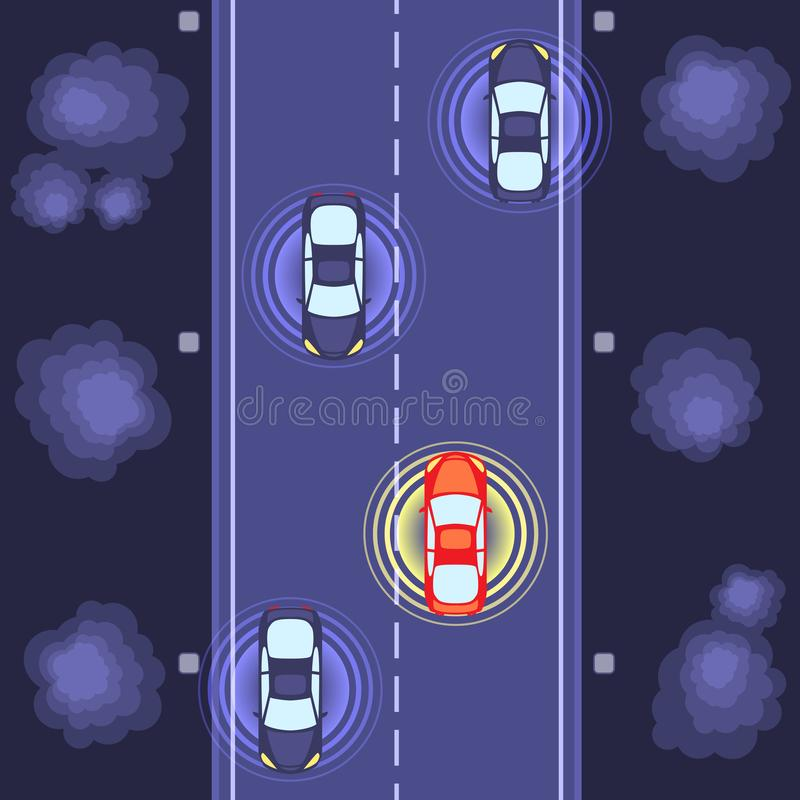 Cars identification on road. Road with cars and circle navigation circles vector illustration