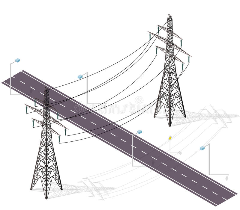 Road for cars crossed by high voltage lines, street lamps. Infrastructure intersecting. royalty free illustration