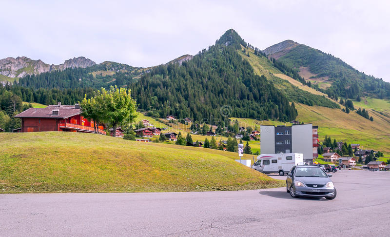 Road with cars in Switzerland stock image