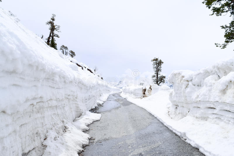 Road carved from the heavy snow on Leh Manali highway leading to Rohtang pass near Manali Himachal Pradesh. Enthralling road of Leh Manali Highway near Manali stock photo