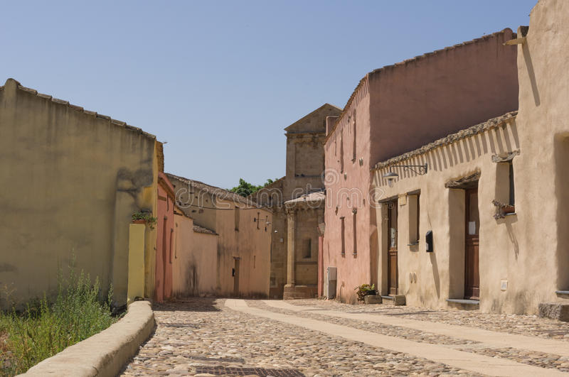 Road in the center of a Sardinian village stock image