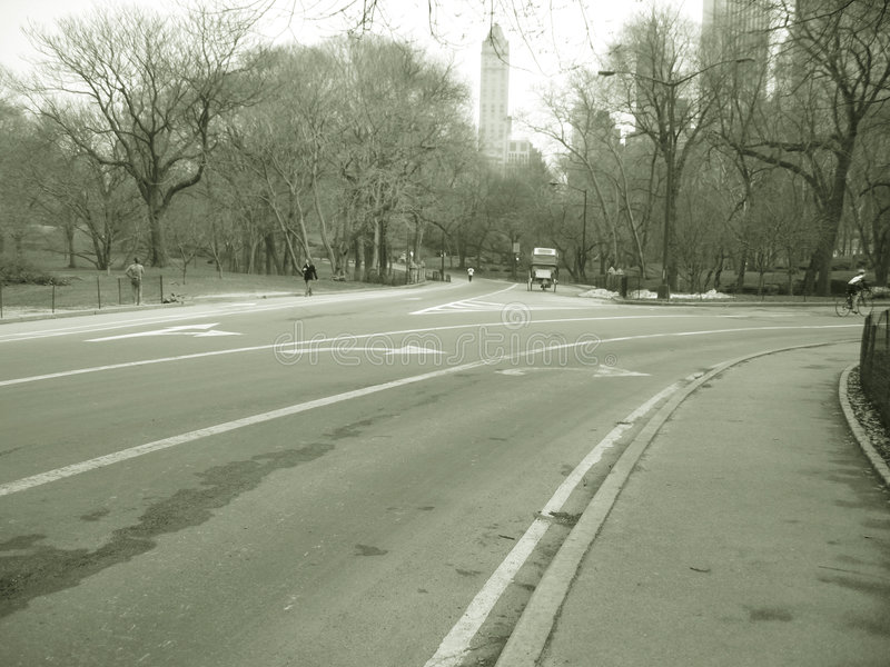 Download Road In Central Park In Sepia Royalty Free Stock Images - Image: 597799