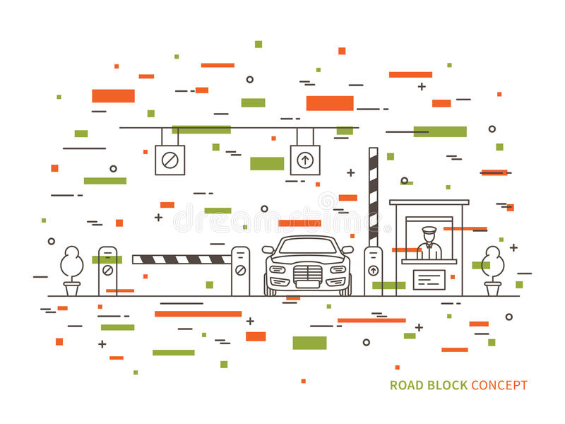 Road checkpoint station pay-gate, tourniquet linear vector illustration. Road barrier stop gate creative graphic concept. Road traffic security entrance royalty free illustration