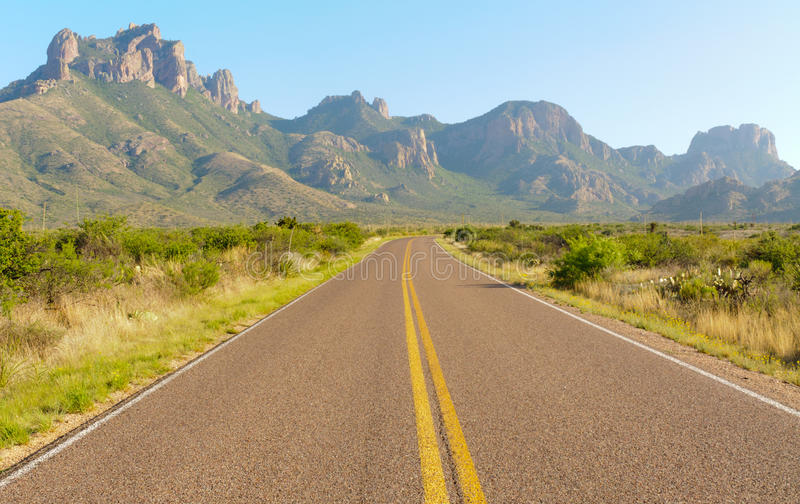 Road into the Chisos Mountains. Road into the Chisos Mountain Basin stock photography
