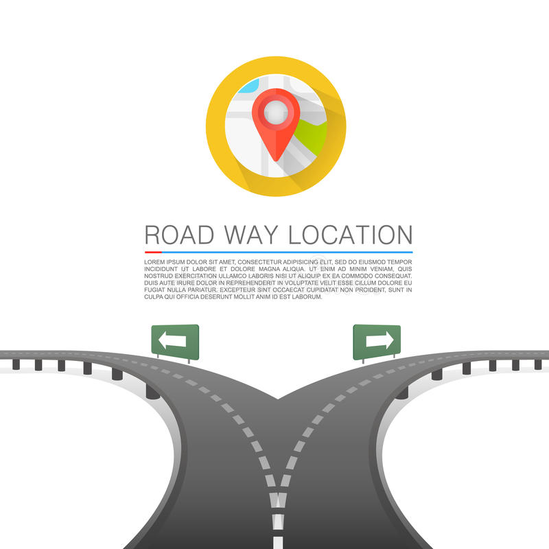 Road choice, Road arrow cover, Road way location, Vector background vector illustration