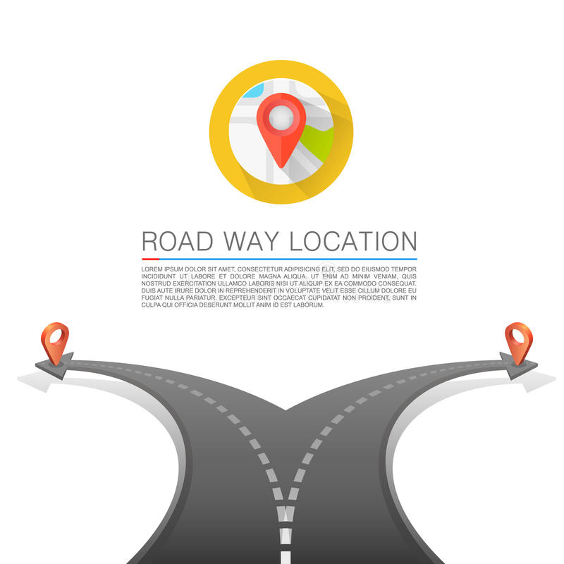 Road choice, Road arrow cover, Road way location, Vector background stock illustration