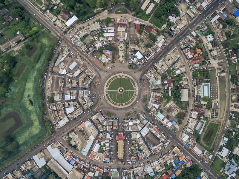 Road circle at 6 lanes come together in thailand. stock photography