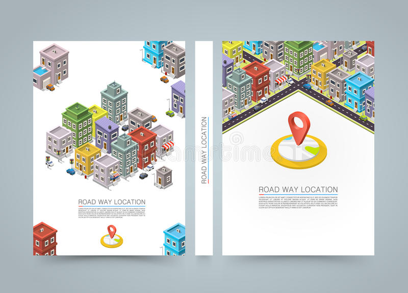 Road in the city Isometric banner, location book, A4 size royalty free illustration