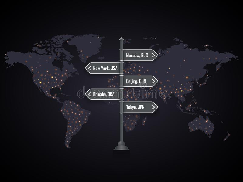 Road city signpost on the world map with city lights royalty free illustration