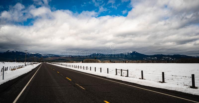 Long Panoramic Composition Open Road Two Lane Highway Winter stock photos