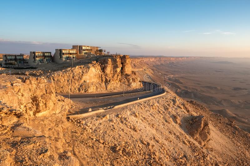 Road on the cliff at Ramon Crater in Mizpe Ramon, Israel. Road on the cliff at Ramon Crater in Mizpe Ramon in Negev desert, Israel royalty free stock image