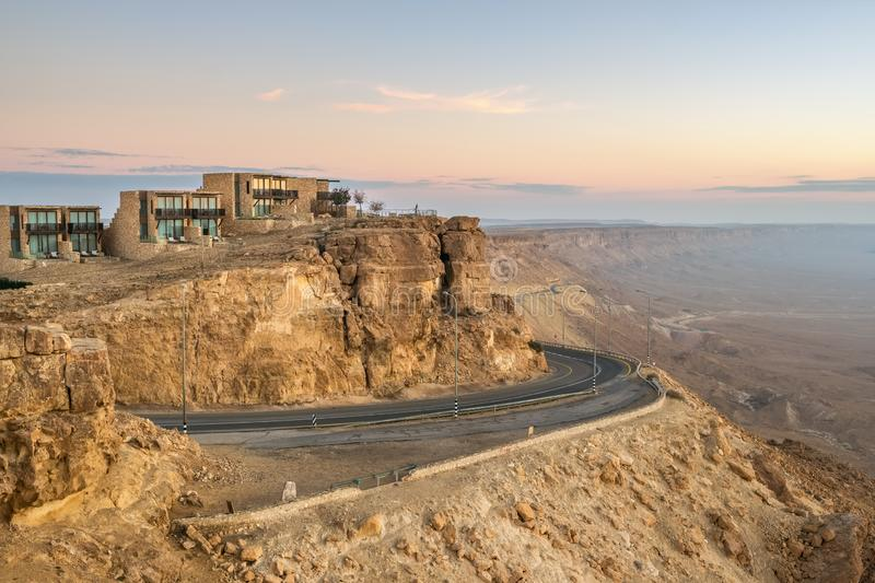 Road on the cliff at Ramon Crater in Mizpe Ramon, Israel. Road on the cliff at Ramon Crater in Mizpe Ramon in Negev desert, Israel royalty free stock images