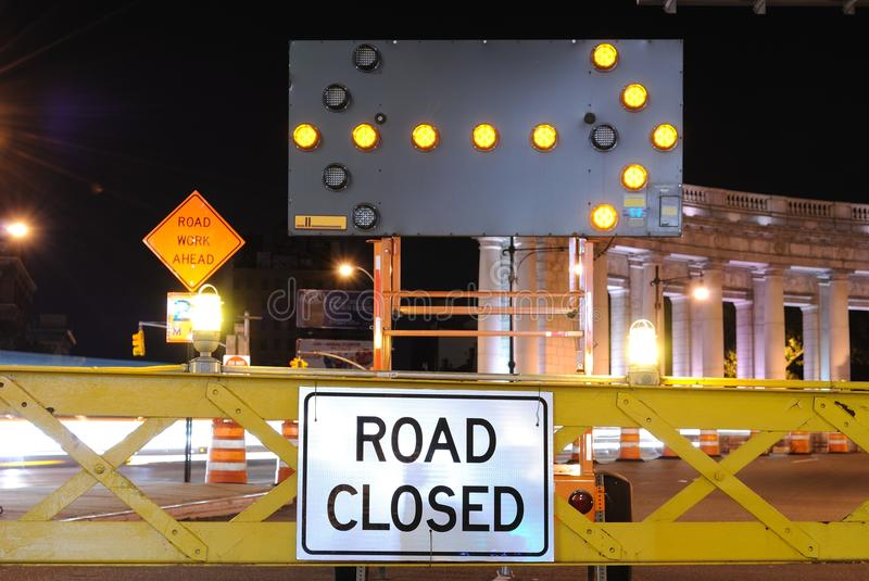 Download Road Closed stock image. Image of city, ahead, night - 14318737