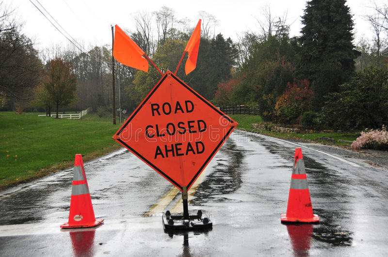 Download Road closed ahead stock image. Image of danger, sign - 28105111