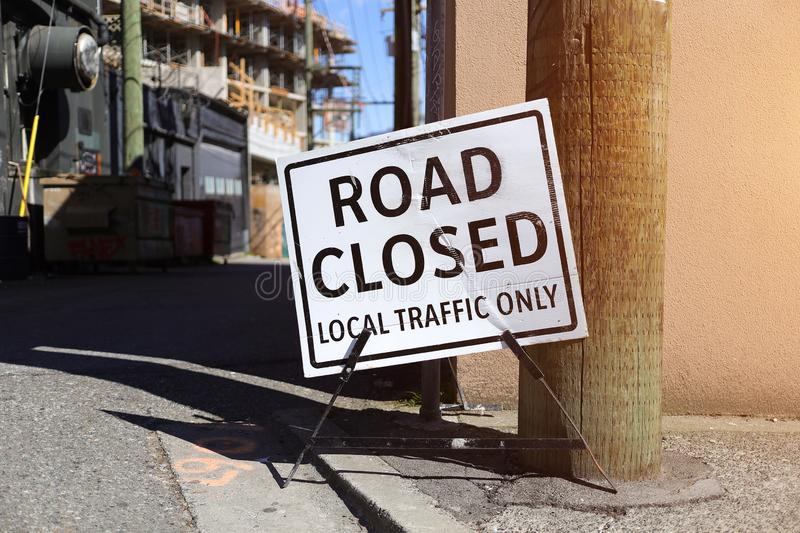 Road closed local traffic only sign royalty free stock images