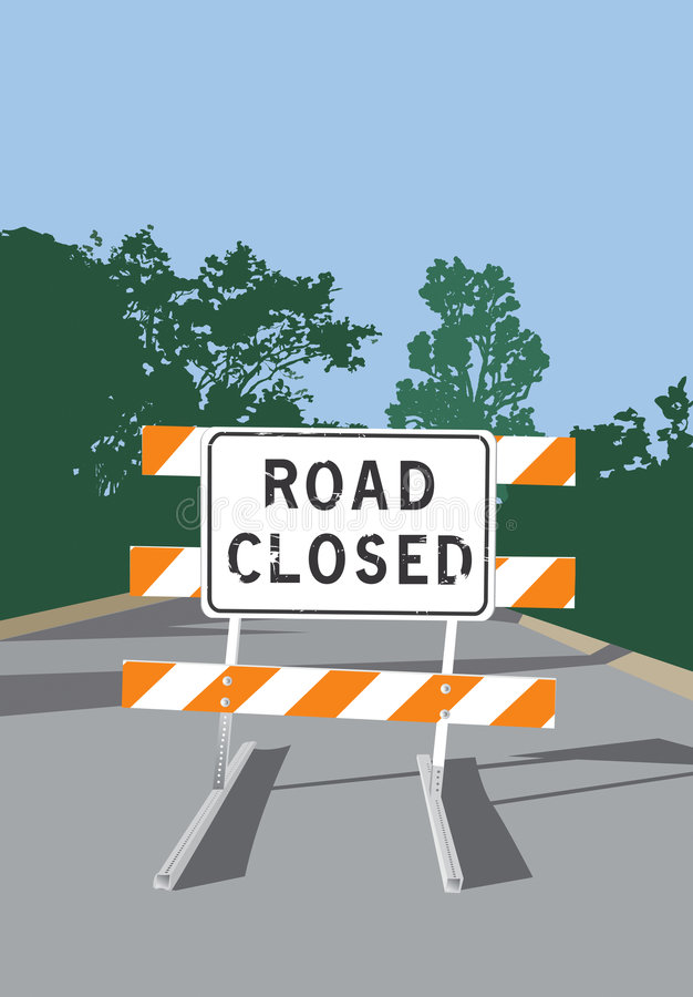 Download Road Closed Sign stock vector. Image of landscape, empty - 7126325