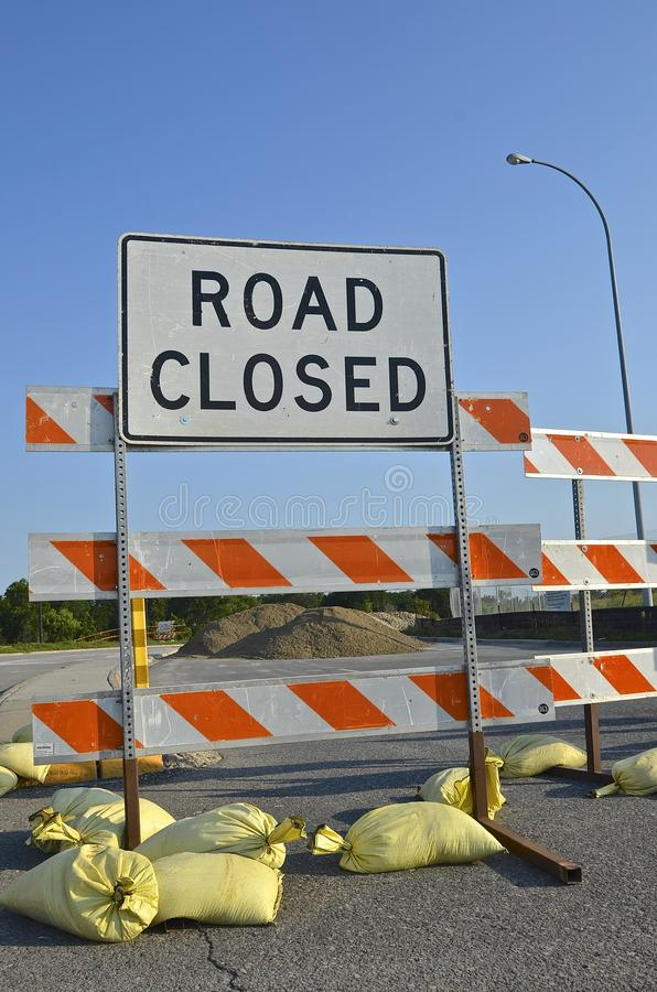 Road Closed sign and construction royalty free stock image