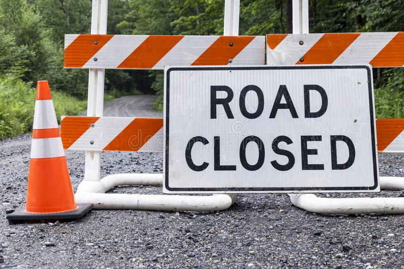 Road Closed Sign on Rural Dirt Road stock image