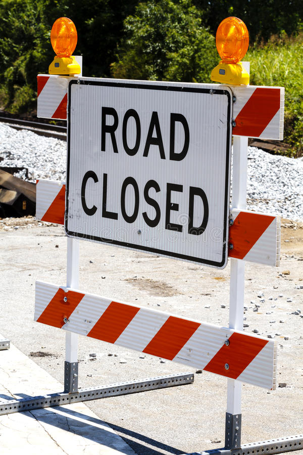 Road Closed Type III Barricade With Warning Lights royalty free stock image