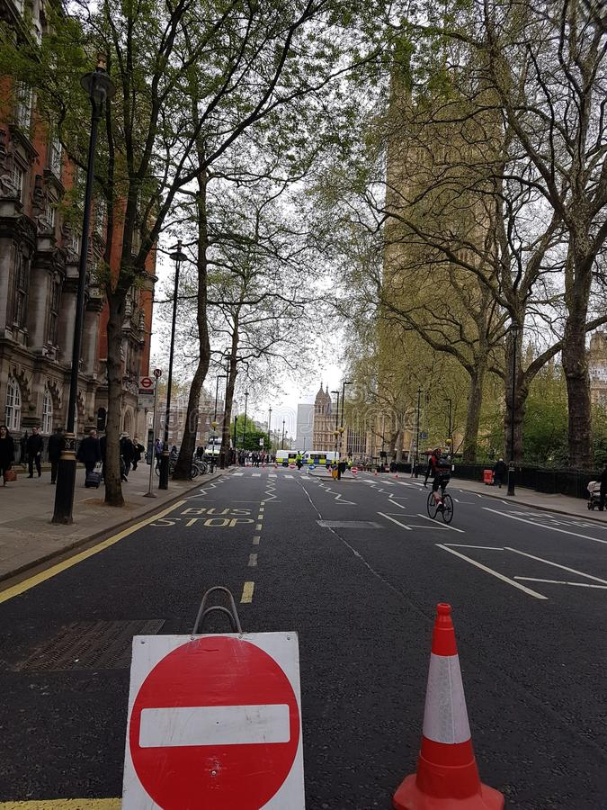 Road closed for the unveiling of suffragist`s statue in Parliament Square, London. Statue of suffragist campaigner Millicent Fawcett, created by Turner Prize stock photo