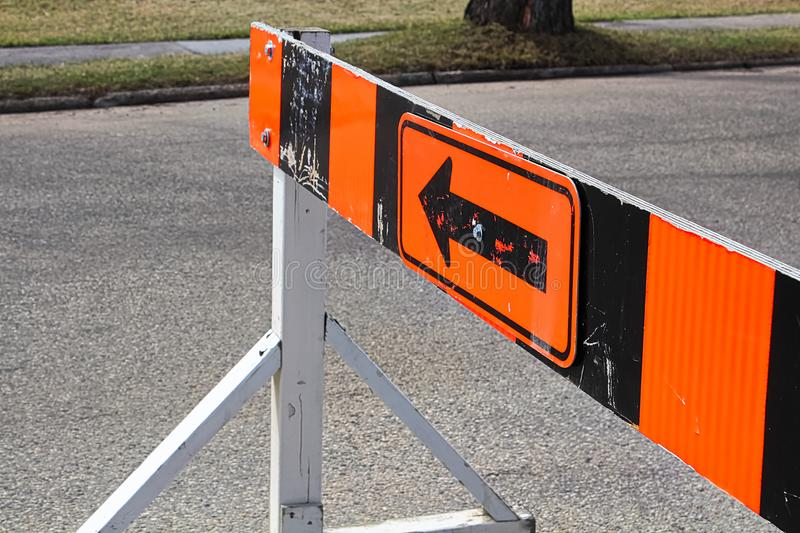 A road closer with arrow construction barrier royalty free stock photos