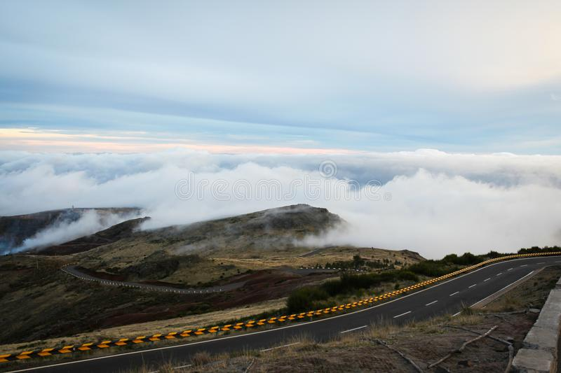 Road in the clouds royalty free stock image