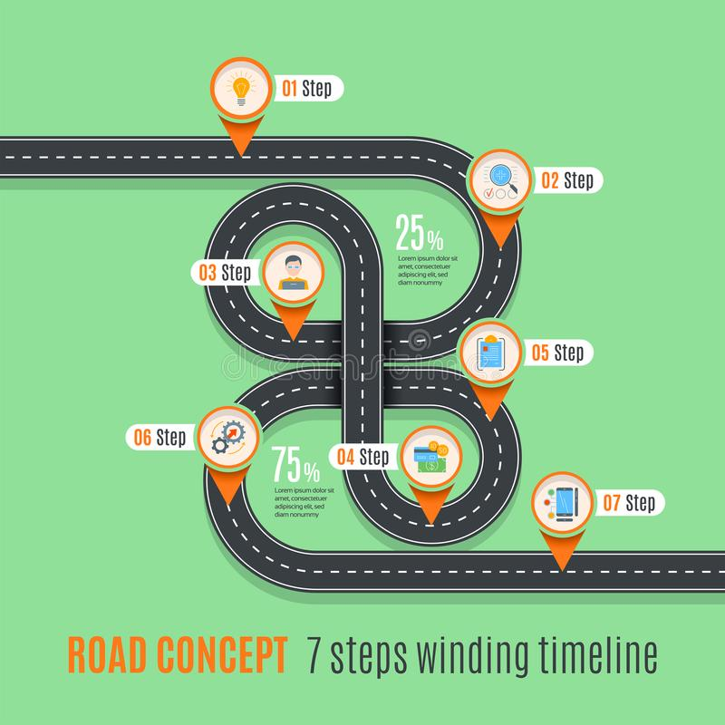 Road concept timeline, infographic chart, flat style. Asphalt road. Color Swatches control royalty free illustration