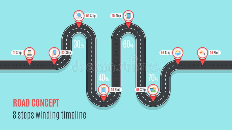 Road concept timeline, infographic chart, flat style stock illustration
