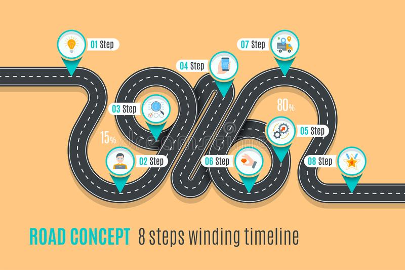 Road concept timeline, infographic chart, flat style. Asphalt road. Color Swatches control stock illustration
