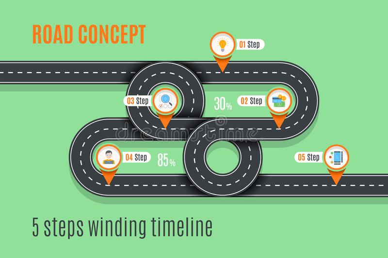 Road concept timeline, infographic chart, flat style royalty free illustration