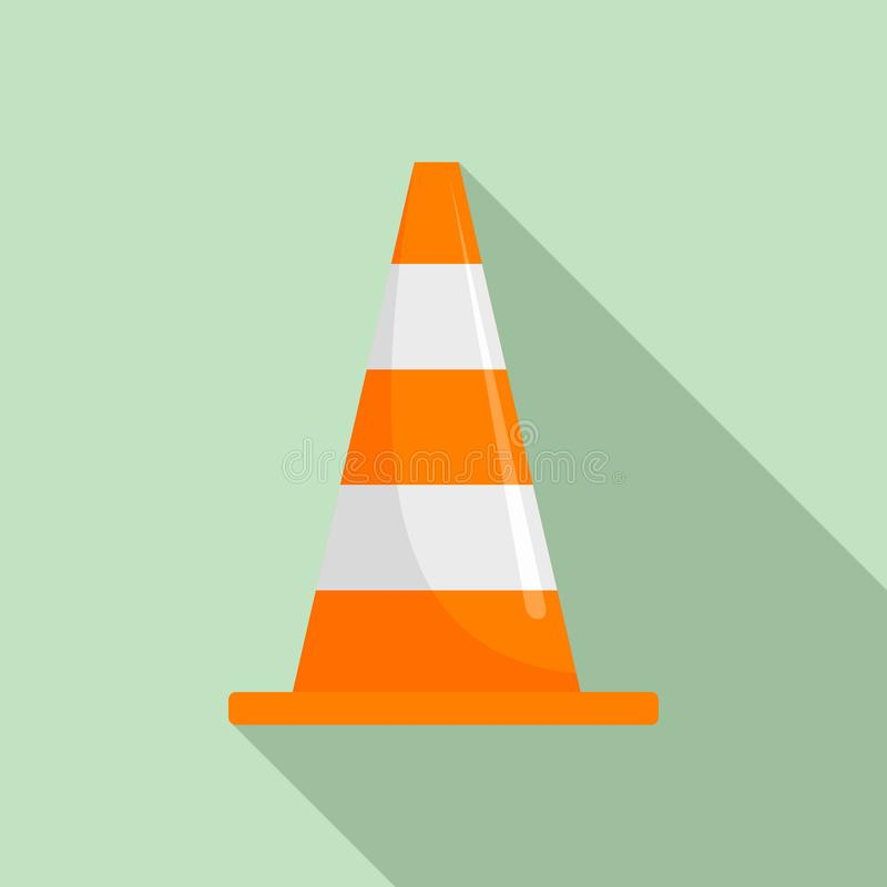 Road cone icon, flat style stock illustration