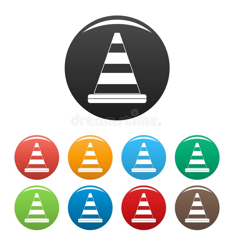 Road cone icons set color royalty free illustration
