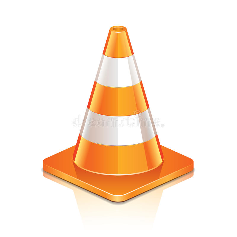 Road cone on white royalty free illustration