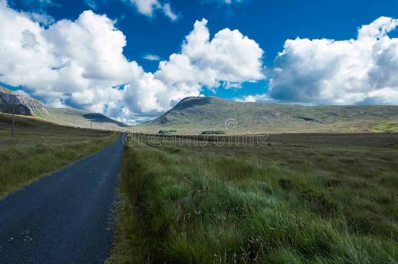 Road of Connemara. Connemara is a district in the west of Ireland of which the boundaries are not well defined. Lake, rivers, green mountains and great panorama royalty free stock photography